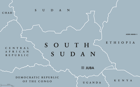 landlocked country: South Sudan political map with capital Juba and national borders. Republic and landlocked Arab country in Northern Africa. Gray illustration isolated on white background. English labeling. Vector.
