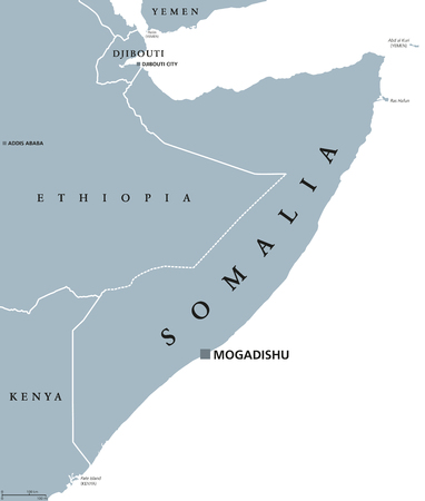 Somalië politieke kaart met hoofdstad Mogadishu. Federale republiek en land in de Hoorn van Afrika. Kustlijn langs de Golf van Aden en de Indische Oceaan. Grijze illustratie over wit. Engelse etikettering. Vector.