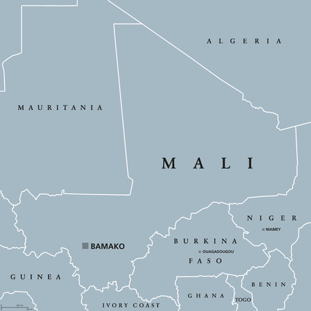 Mali political map with capital Bamako, international borders and neighbors. Republic and landlocked country in West Africa. Gray illustration. English labeling. Vector. Illustration