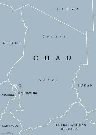 Chad political map with capital NDjamena, international borders and neighbors. Republic and landlocked country in Central Africa. Gray illustration. English labeling. Vector.