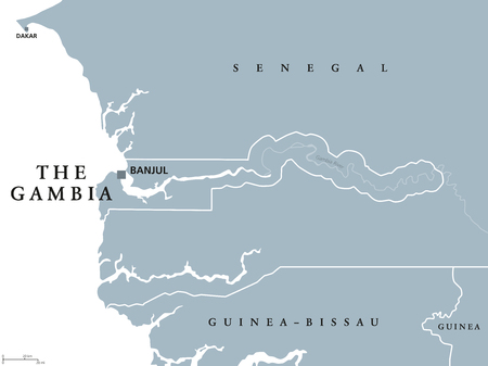 The Gambia political map with capital Banjul. Republic and country in West Africa, surrounded by Senegal except Atlantic ocean coastline. Gray illustration. White background. English labeling. Vector.