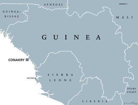labeling: Guinea political map with capital Conakry. Republic and country on the West coast of Africa, formerly known as French Guinea. Gray illustration isolated on white background. English labeling. Vector.