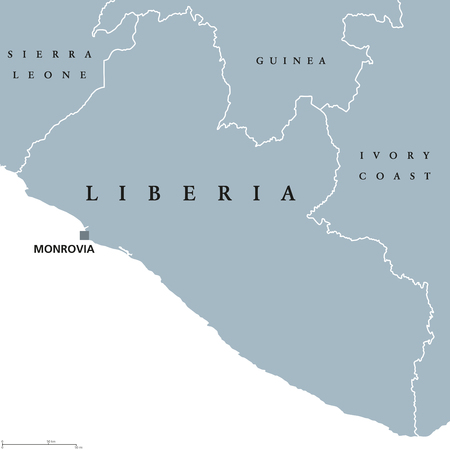 labeling: Liberia political map with capital Monrovia and international borders.