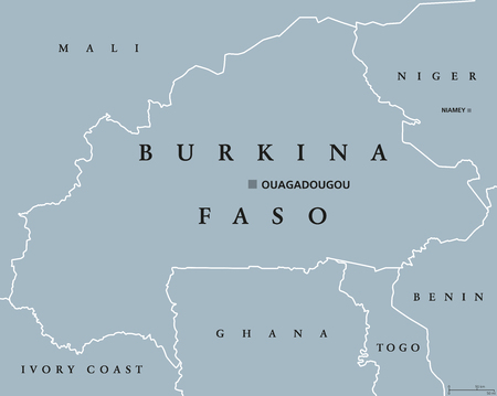 landlocked country: Burkina Faso political map with capital Ouagadougou. Landlocked country in West Africa, formerly the Republic of Upper Volta. Gray illustration with English labeling. Vector.