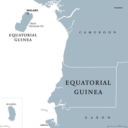 Equatorial Guinea political map with capital Malabo on Bioko or Fernando Po island. Republic. Country in Central Africa. Formerly Spanish Guinea. Gray illustration over white. English labeling. Vector Stock fotó - 82396873