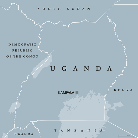 Uganda political map with capital Kampala. Republic in East Africa. Landlocked country in the African Great Lakes region, including a part of Lake Victoria. Gray illustration. English labeling. Vector Illustration