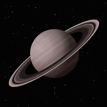 Saturn with typical rings - second largest planet in the Solar System - vector illustration on starry night galaxy black background.