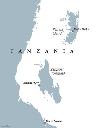 Zanzibar and Pemba Island political map. Semi-autonomous region of Tanzania in East Africa. Zanzibar Archipelago in the Indian Ocean. Gray illustration on white background. English labeling. Vector.