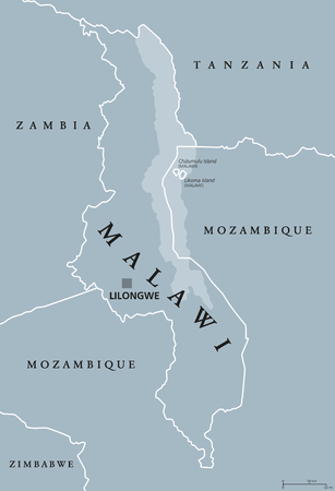 Malawi political map with capital Lilongwe. Republic. Landlocked country in Southeast Africa. Formerly Nyasaland. Lake Malawi takes up a third of its area. Gray illustration. English labeling. Vector.