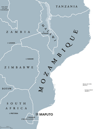 Mozambique political map with capital Maputo. Republic and country in Southeast Africa bordered by the Indian Ocean. Gray illustration isolated on white background. English labeling. Vector.