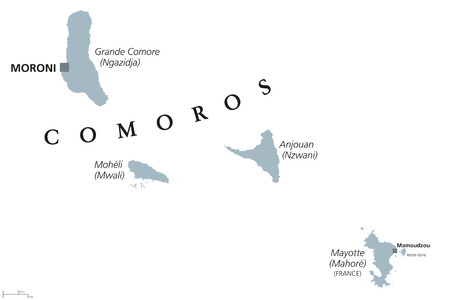 mayotte: Comoros political map with capital Moroni and French island Mayotte. Union and sovereign archipelago island nation in the Indian Ocean. Gray illustration on white background. English labeling. Vector.