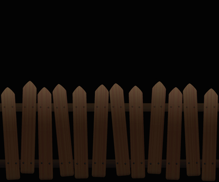 Crooked, wooden picket fence at night - seamless extendable - isolated vector illustration on white background.