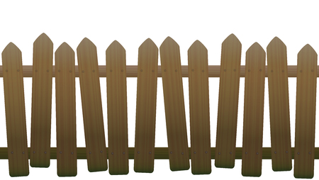awry: Old, unsteady, crooked fence with wooden texture, seamless extendable - isolated vector illustration on white background. Illustration