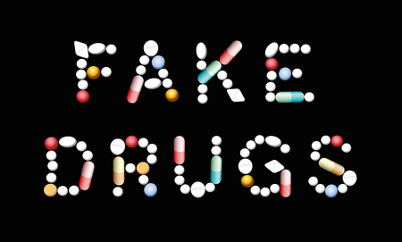 FAKE DRUGS written with pills, tablets and capsules. Isolated vector illustration on black background. Illustration