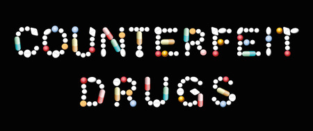 COUNTERFEIT DRUGS written with pills, tablets and capsules. Isolated vector illustration on black background.