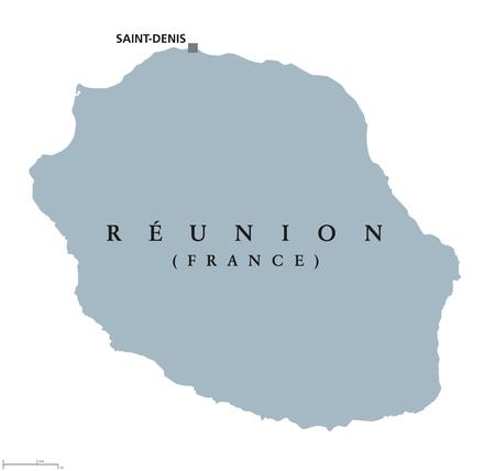 자본 Saint-Denis와의 재결합 정치지도. 섬. 마다가스카르의 동쪽, 인도양에있는 프랑스의 해외 부서. 회색 그림 흰색 배경에 고립입니다. 영어 레이블. 벡