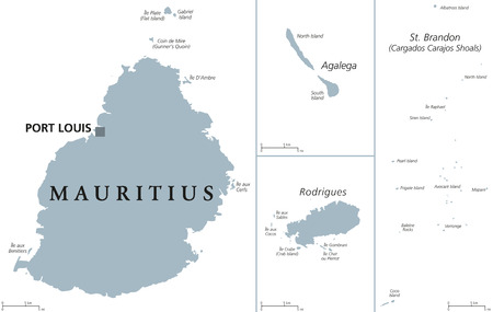 Mauritius political map with capital Port Louis, outer islands Agalega, Rodrigues, Saint Brandon. Republic and island nation in the Indian Ocean. Gray illustration over white. English labeling. Vector