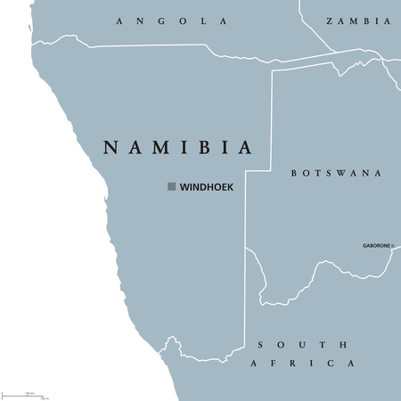 Namibia Political Map With Capital Windhoek. Republic And Country ...