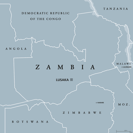 landlocked country: Zambia political map with capital Lusaka, international borders and neighbors. Republic and landlocked country in Southern Africa. Former Northern Rhodesia. Gray illustration. English labeling. Vector