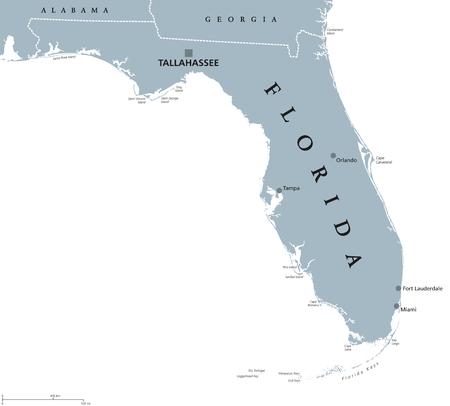 Carte politique de la Floride avec la capitale Tallahassee. État dans le sud-est des États-Unis, bordé par le golfe du Mexique. Illustration grise sur fond blanc. Étiquetage en anglais. Vecteur. Vecteurs