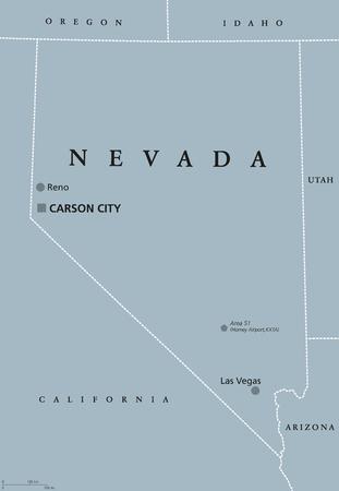 ネバダ州ラスベガス、リノおよびカーソンシティの首都で政治地図。アメリカ合衆国の西部、山脈西部および南西部地域での状態します。英語表示