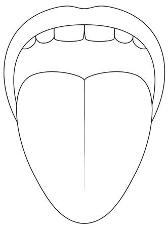 혀 기호 - 흰색 배경에 개요 아이콘 그림. 스톡 콘텐츠 - 82811562