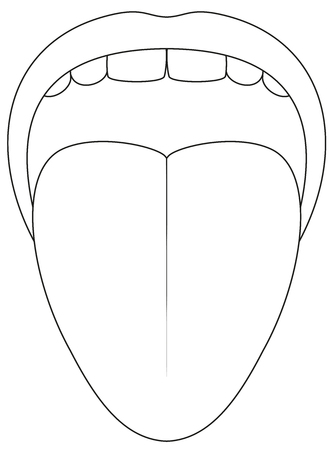 Tongue symbol - outline icon illustration on white background. Ilustração