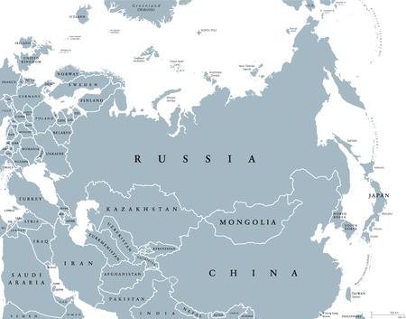 ユーラシア諸国と国境の政治地図。ヨーロッパ、アジア北部と東部の半球に位置する大陸の内部を組み合わせます。白灰色の図。英語のラベルしま