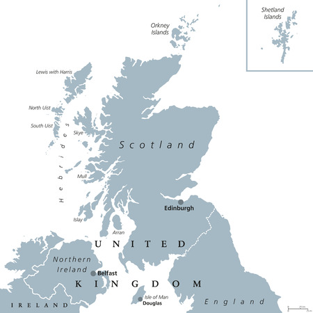 shetland: Scotland political map with capital Edinburgh. Country and part of the United Kingdom. Covers the northern third of the island of Great Britain. Gray illustration over white. English labeling. Vector. Illustration