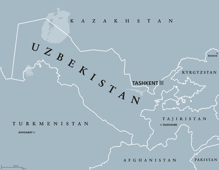 landlocked country: Uzbekistan political map with capital Tashkent and international borders. Republic and landlocked country in Central Asia. Gray illustration with English labeling. Vector.