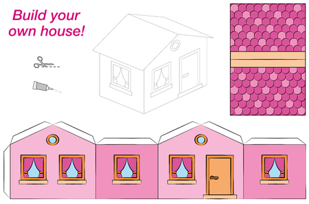 House template - sweet pink comic cottage - cut out, fold and glue it. Isolated vector illustration on white background. Ilustrace