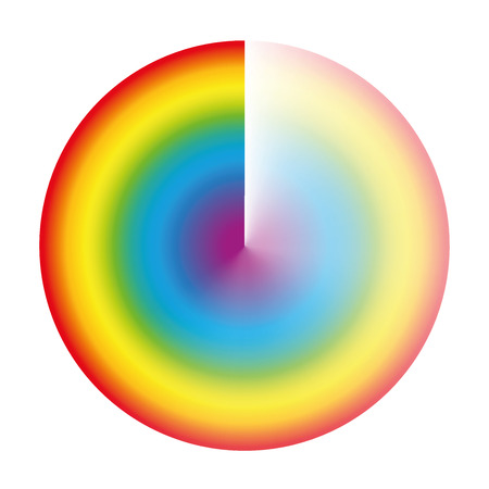 Rainbow colored preloader or buffer circle with gradient transparency to be used as rotating symbol while loading, downloading or streaming. Isolated vector illustration on white background. Illustration