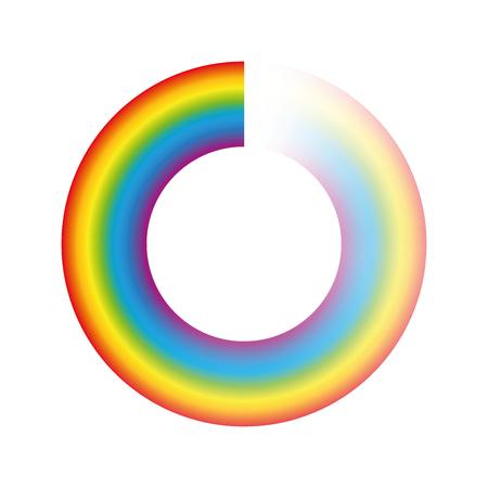 バッファリングの円またはプリローダー - ロード時、回転するアイコンとしてのアニメーションに使用する透明な虹色のリングは、ダウンロードま