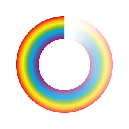 Buffering circle or preloader - rainbow colored ring with transparency to be used for animation as spinning icon while loading, downloading or streaming. Isolated vecto on white background.