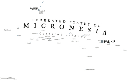Federated States of Micronesia political map with capital Palikir. English labeling. Island Nation and a United States associated state in the Pacific Ocean in gray illustration over white vector. Illustration