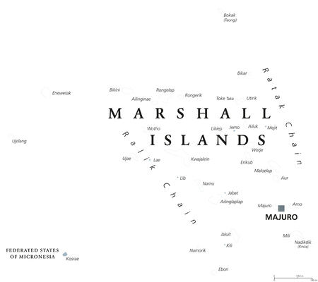 Marshall Islands political map with capital Majuro. Republic and country in the Pacific Ocean consisting of coral atolls and islands. English labeling. Gray illustration on white background. Vector. Ilustração