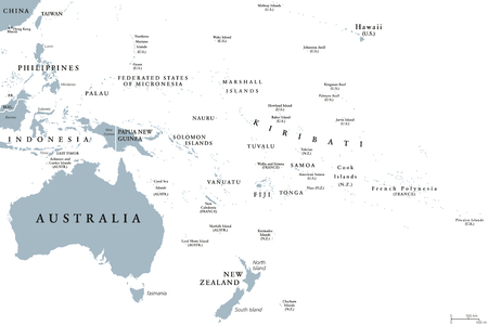 Oceania Political Map With Countries English Labeling Region - Us map with regions labeled