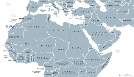 North Africa and Middle East political map with countries and borders. English labeling. Maghreb, Mediterranean, West and Central Asian countries. Gray illustration on white background. Vector.