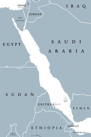 Bab El Mandeb Strait Region Political Map English Labeling