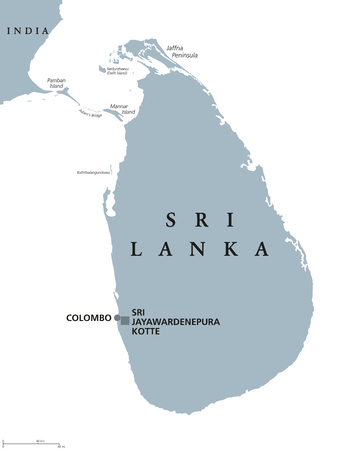 Sri Lanka political map with capitals Sri Jayawardenepura Kotte and Colombo. English labeling. Democratic Socialist Republic. Former Ceylon. Island country in South Asia. Gray illustration. Vector. Иллюстрация