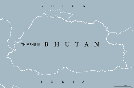 Bhutan political map with capital Thimphu and borders. English labeling. Landlocked kingdom in South Asia in the Eastern Himalayas, bordered by China and India. Gray illustration. Vector. Illustration