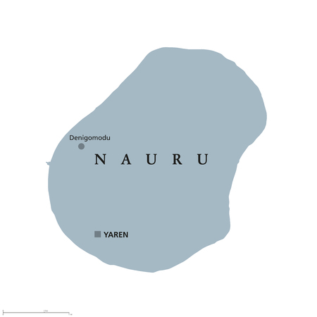 labeling: Nauru political map with capital Yaren. Formerly Pleasant Island. A republic and island country in Micronesia in the Central Pacific. English labeling. Gray illustration on white background. Vector. Illustration