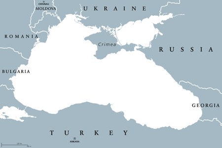 Black Sea and Sea of Azov region political map with capitals and borders. Body of water between Eastern Europe and Western Asia. Illustration. Gray illustration. Vector.