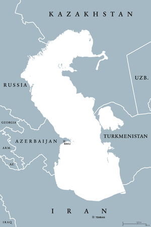 Caspian Sea region political map with borders and countries. Body of water, basin, and largest lake on earth between Europe and Asia. Gray illustration. Vector. Illustration