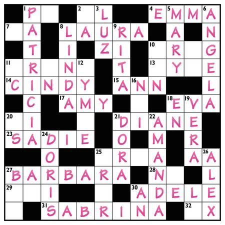 keywords: Popular girls names written in a crossword puzzle with pink ink. Illustration