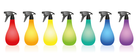 liquids: Spray bottles - colored set. Isolated vector illustration over white background.