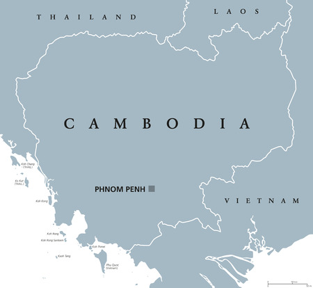 Cambodia political map with capital Phnom Penh and English labeling. Kampuchea, a kingdom and country in the southern portion of the Indochina Peninsula in Southeast Asia. Gray illustration. Vector.