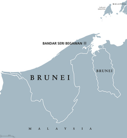 labeling: Brunei political map with capital Bandar Seri Begawan. English labeling. The Nation of Brunei, the Abode of Peace. Sovereign state on north coast of Borneo in Southeast Asia. Gray illustration. Vector