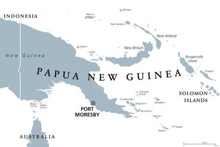 Carte politique de Papouasie-Nouvelle-Guinée avec la capitale Port Moresby. Étiquetage en anglais. Etat indépendant sur la moitié orientale de l'île de Nouvelle-Guinée avec des îles en Mélanésie. Illustration grise sur blanc. Vecteur. Vecteurs