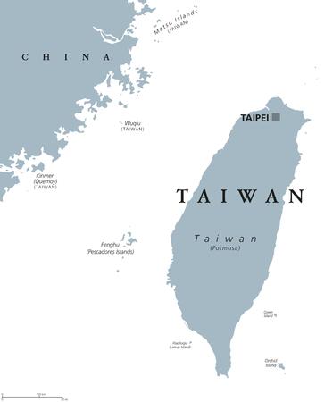 Carte politique de Taiwan avec la capitale Taipei. Étiquetage anglais. Officiellement, la République de Chine, ROC, est un État d?Asie de l?Est situé sur l?île de Taiwan, anciennement appelée Formose. Illustration grise. Vecteur.